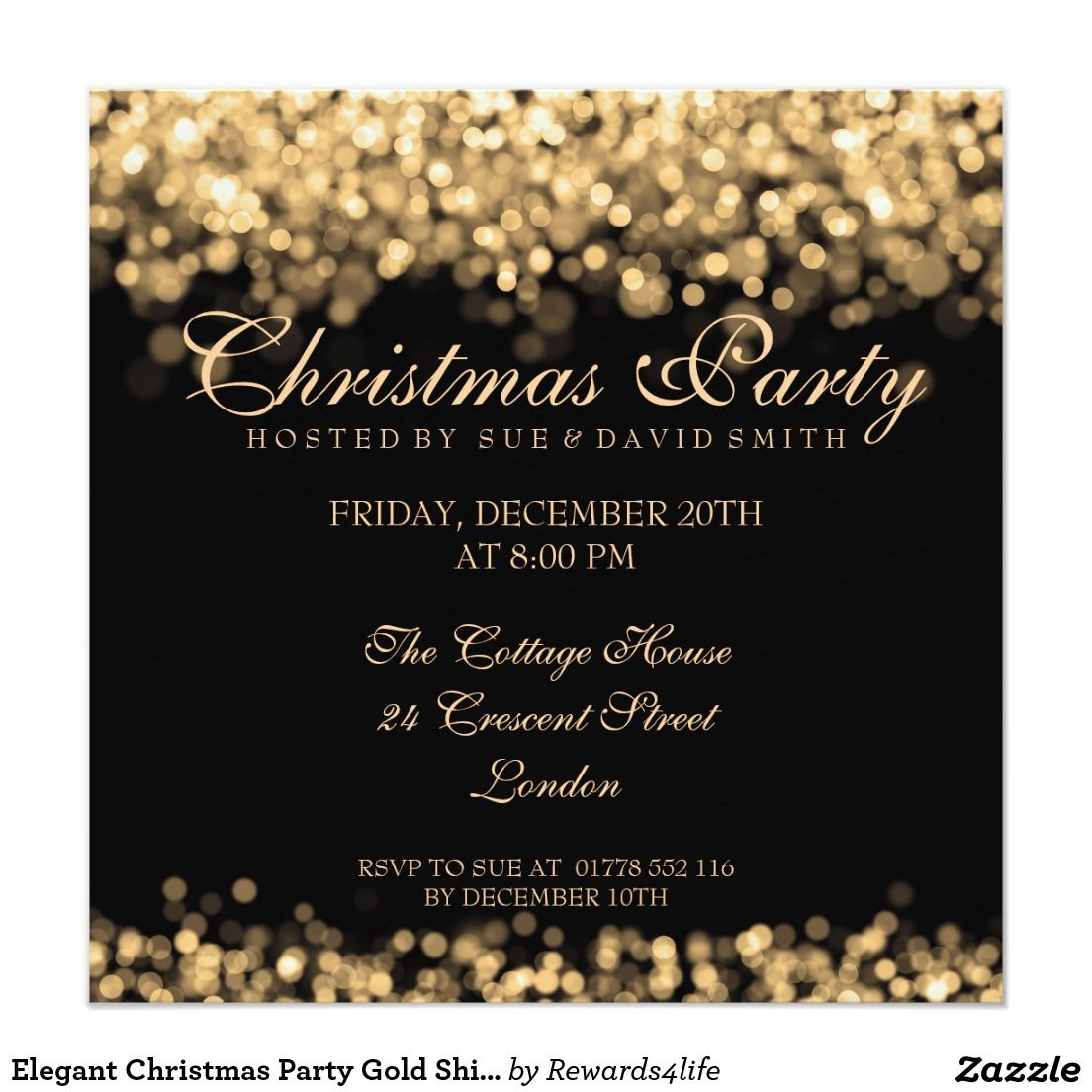 Elegant Christmas Party Gold Shimmering Lights 5.25x5.25 Square ...
