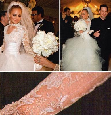 nicole richie\'s wedding dress. Love the detail on their names ...