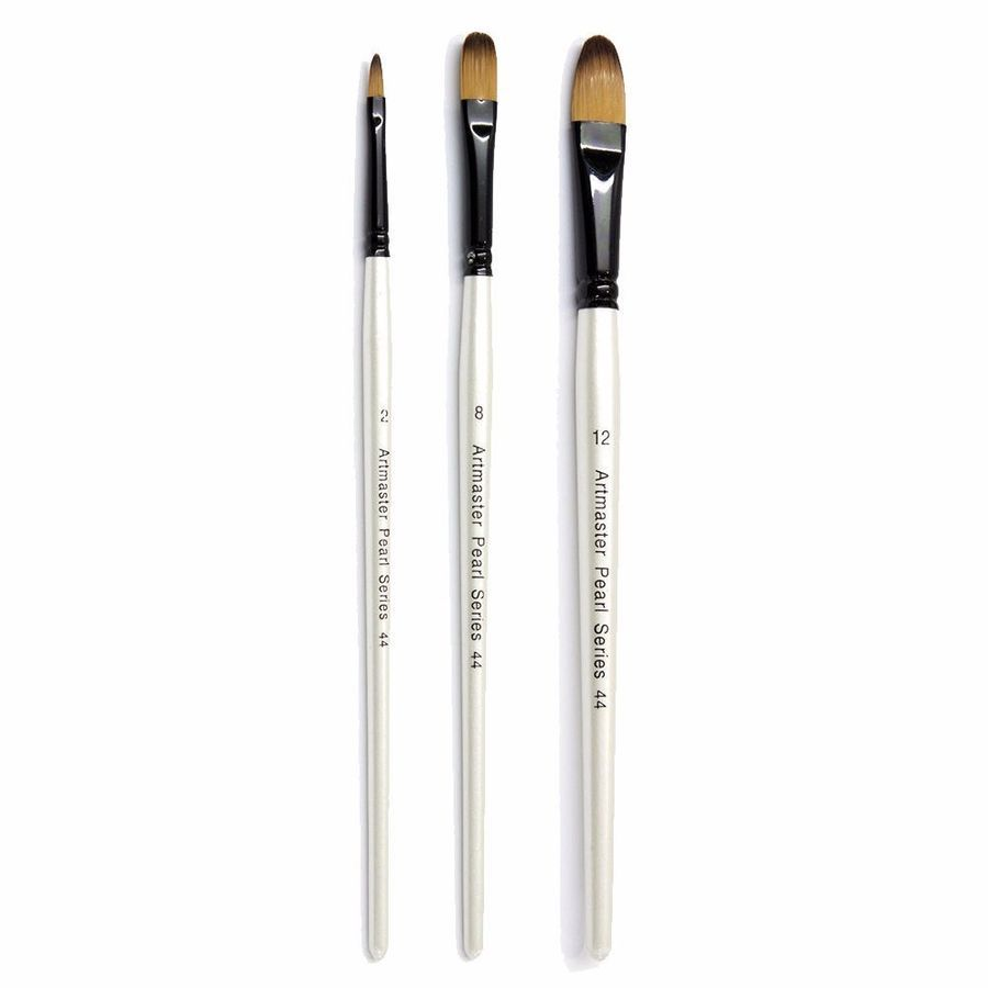 Artmaster Pearl Artist Watercolour Filbert Paint Brush Assorted