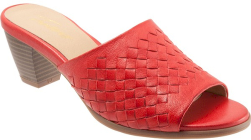 9a9d68f41 Trotters Corsa Mule in Red. A basket-weave strap creates subtle texture on  this streamlined