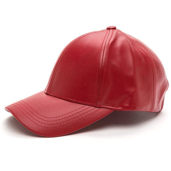 49fe88c770990 Cap Off Leather Baseball Hat RED (100 BRL) ❤ liked on Polyvore featuring  accessories
