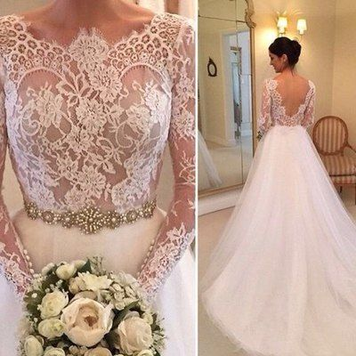 4ebaaa3ad36c Gorgeous lace long sleeves white long bridal gown with v back - Thumbnail 4