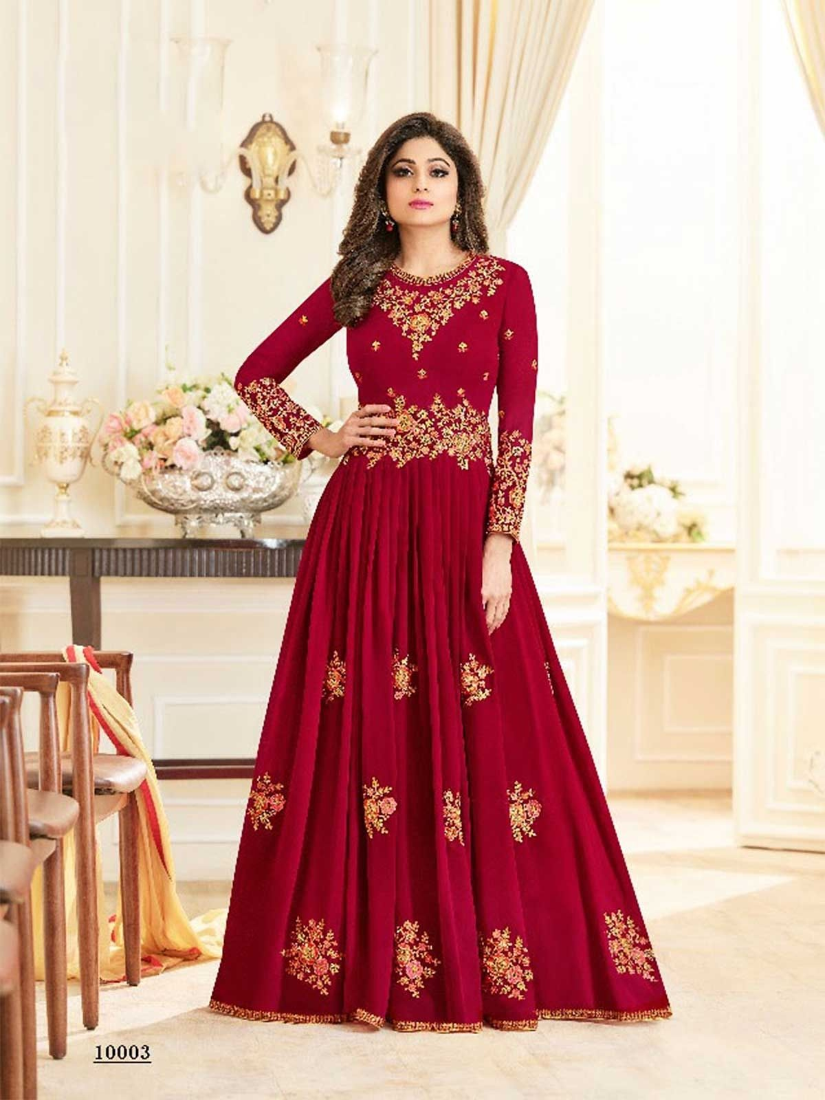 8b9aa438fb Buy online beautiful dark red color wedding long style anarkali dress  shopping. Browse our latest designer red anarkali suits and red color  anarkali salwar ...