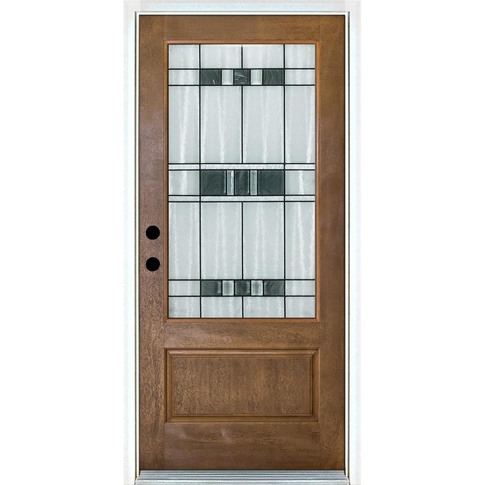 Mp Doors 36 In X 80 In Savana Medium Oak Right Hand Inswing 3 4 Lite Decorative Fiberglass Prehung Front Door N3068r27svk24 In 2020 Fiberglass Entry Doors Front Door Fiberglass Door