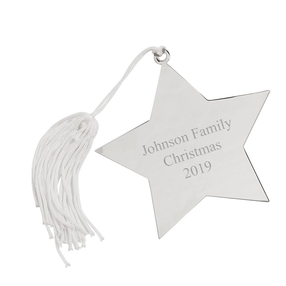 Personalized Silver Star Christmas Tree Ornament with ...