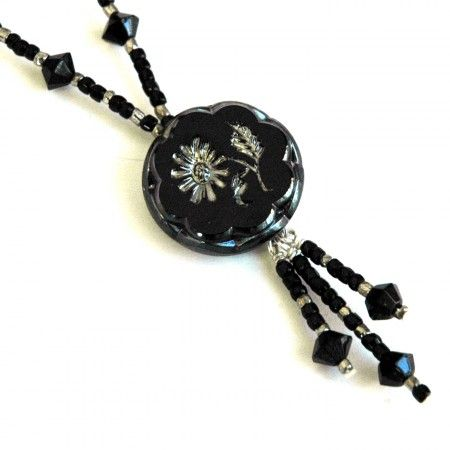 Black & Silver Postmodern Victorian Necklace  by Terrie Marcoe