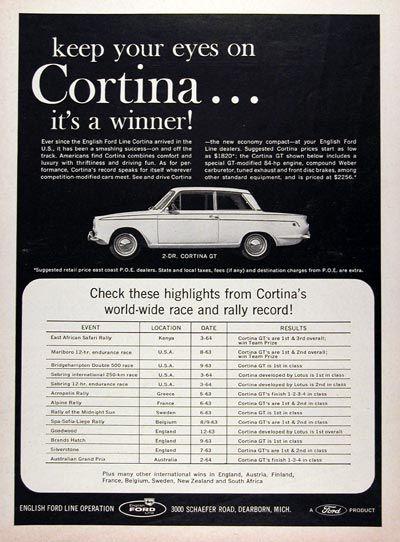 1964 Ford Cortina Gt Original Vintage Advertisement