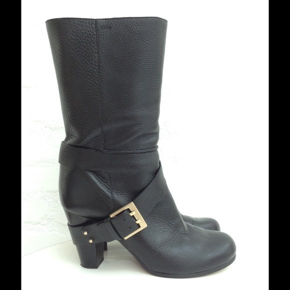 Chloé Boots Size 40.5 or 10 Black leather Chloé boots with gold buckle hardware. Size 40.5 or US 10. Very good condition, bought at Barney's and only worn a few times. Round toe and black stacked wood heel. Great fall/winter boot! Chloe Shoes Heeled Boots
