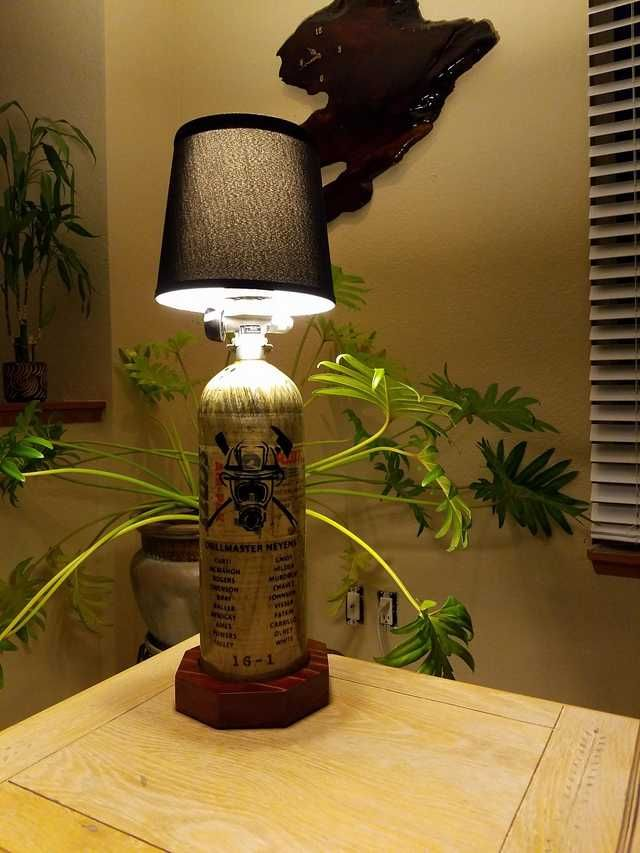 Firefighter Living Room Decor: SCBA Bottle Lamp We Made For Our Chief Of The Academy. In