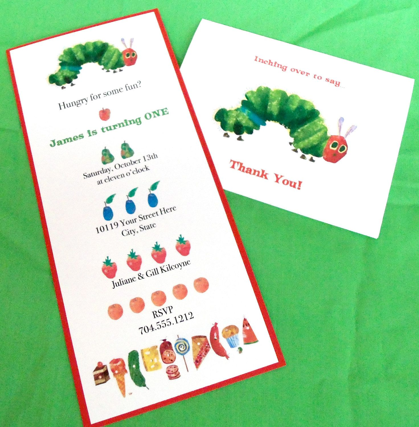 Very Hungry Caterpillar Invitation Eric Carle Kids Birthday Party ...