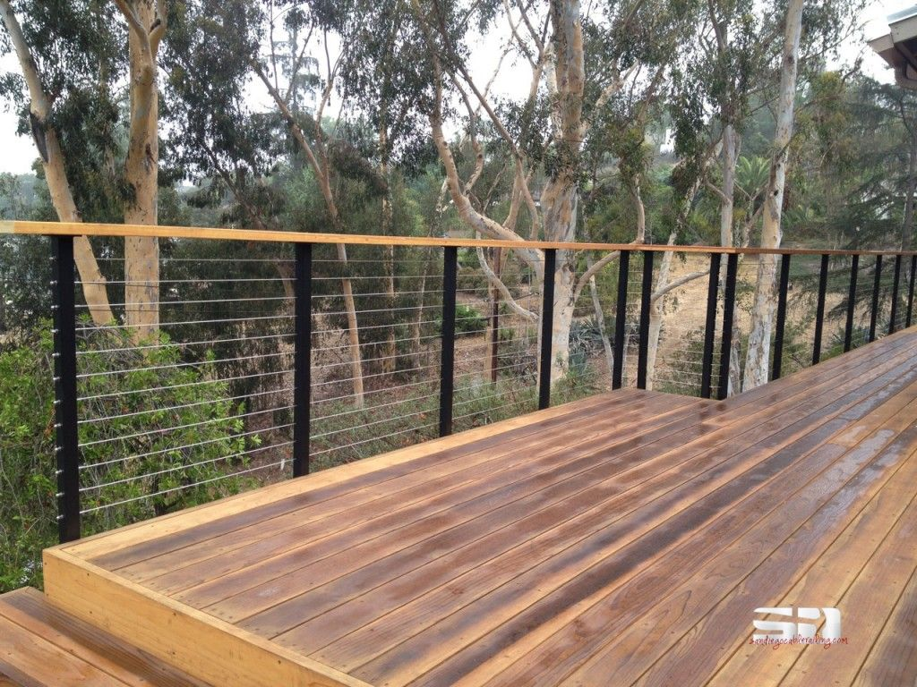 Powder coated steel railing kits contain pre drilled posts top redwood deck cable railing wood top rail baanklon Image collections