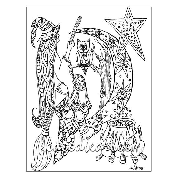 Instant digital download - adult coloring page - halloween theme ...