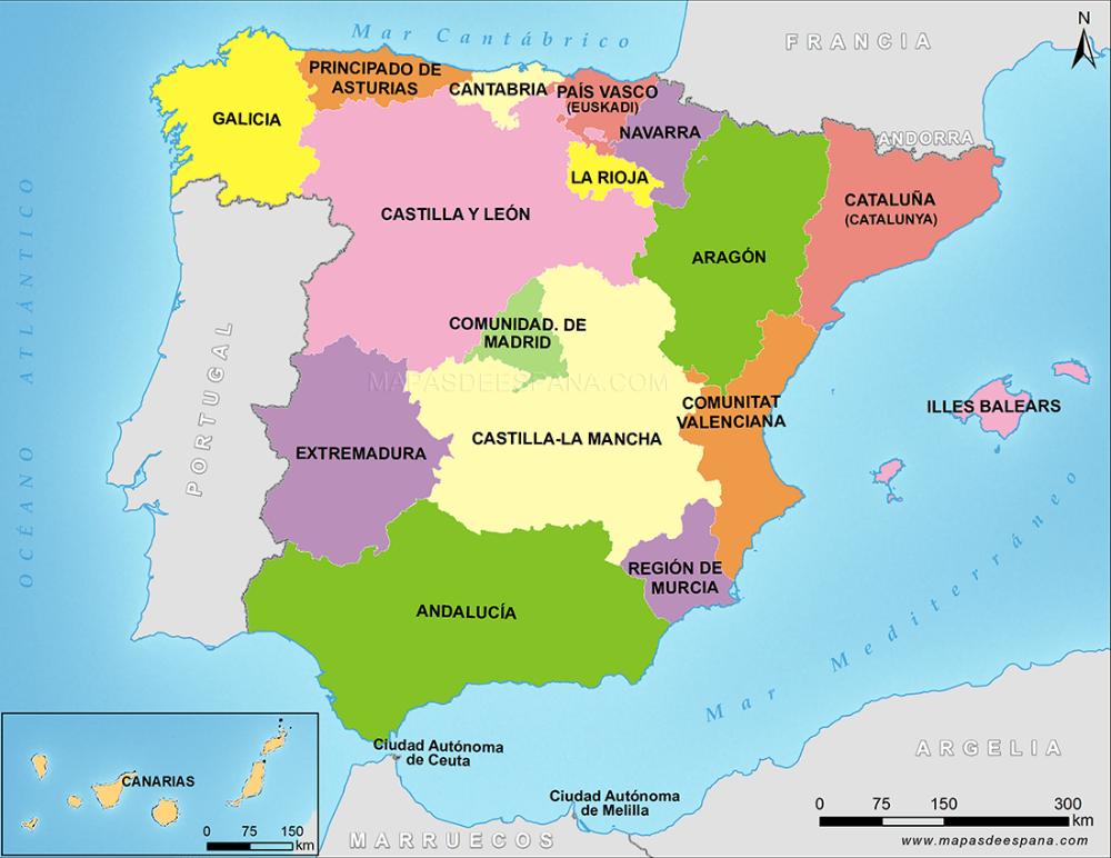 Mapa Comunidades Autónomas De España Comunidades Autonomas De Espana Mapa Fisico De España Mapa De España