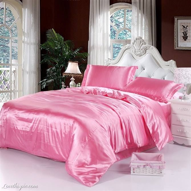Attractive Pink Satin Bedding pink bedroom home bed bedding satin #pink  AV26