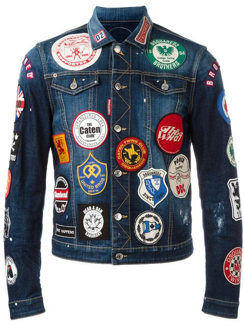 d52e6490 Dsquared2 patch detail jean jacket | Denim in 2019 | Designer denim ...