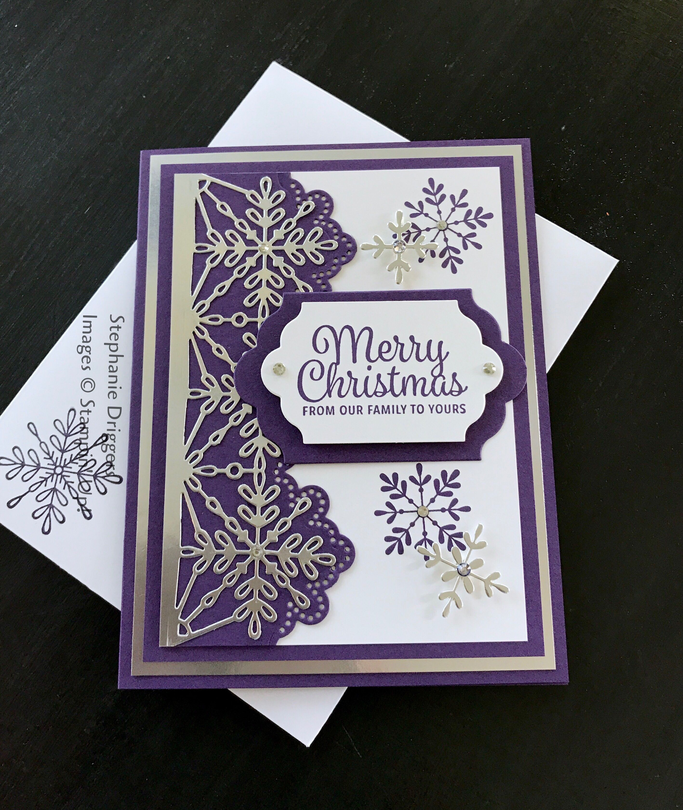 stampin up snowflake sentiments stamp set and swirly snowflake