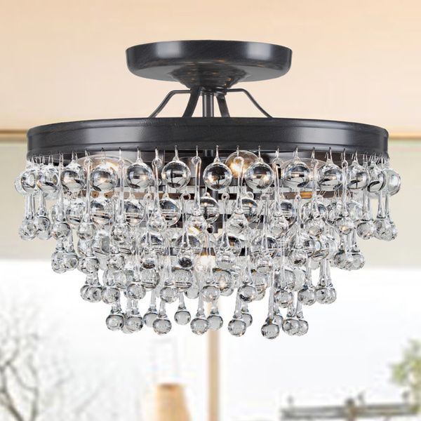 Bathroom Chandeliers Black claudia 5-light antique black glass drop flush mount chandelier