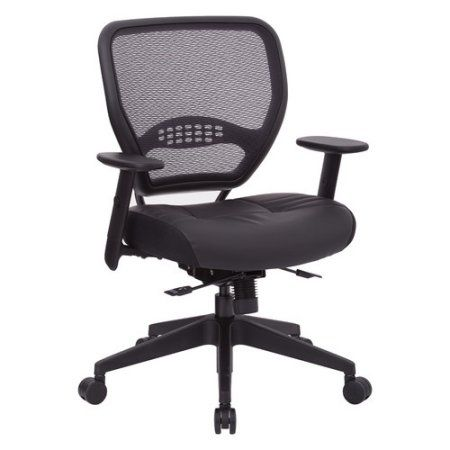 Office Star Air Grid Back And Black Bonded Leather Seat Managers Chair With  Adjustable Angled Arms