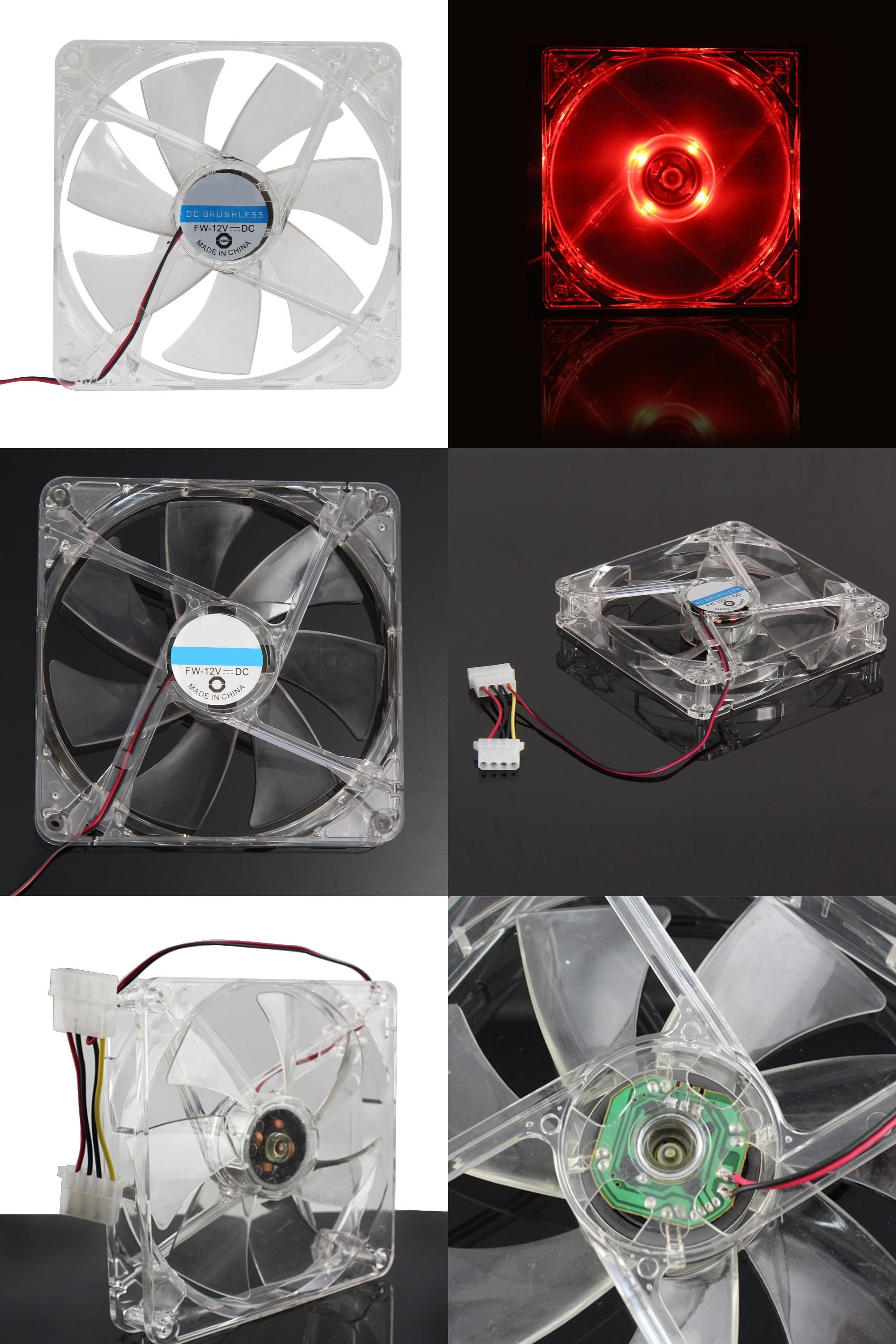 Visit To Buy 2017 New 14cm Pc Computer Clear Case Red Led Light 7 Blade Cpu Cooling Fan 12v 4pin Computer Pc Case Cooler C Red Led Lights Red Led Clear Cases