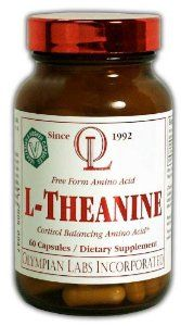 Olympian Labs L-theanine, 400mg by Olympian Labs. $19.99. Increases dopamine levels improving concentration & learning ability. Controlling hypertension by lowering blood pressure. Eases the side effects of too much caffeine. Supports the Immune System by lowering cortisol levels. Diminishing symptoms of PMS. L-Theanine (5-N-ethylglutamine) is a unique free-form amino acid found in green tea. L-Theanine is the predominant amino acid in green tea and makes up 50% of the total fr...