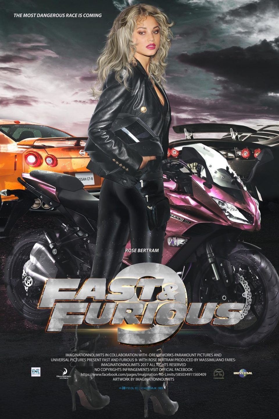 fast and furious 9 movie poster with rose bertram by