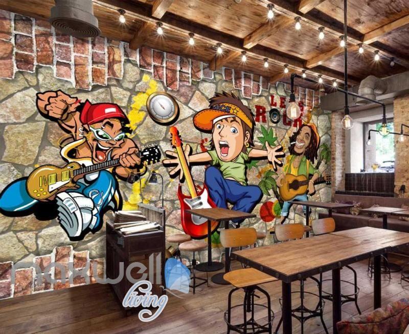 3d graffiti rock cartoon breaking through brick wall art