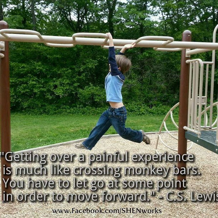 """Getting over a painful experience is much like crossing monkey bars. You have to let go at some point in order to move forward."" - C.S. Lewis  If you or any of your clients could use more assistance in letting go and moving forward, please look into  SHEN, a hands-on therapy which is based in science and is an excellent complement to talk therapies. Feel free to contact me with any questions. -Ayleyaell  #somatic #hands-on #healing #trauma #traumarelease #body #mindbody #mindfulness…"
