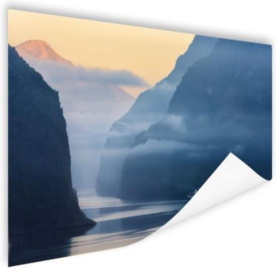 Fjorden in Noorwegen zonsopkomst Poster 120x80 cm - Foto print op Poster...