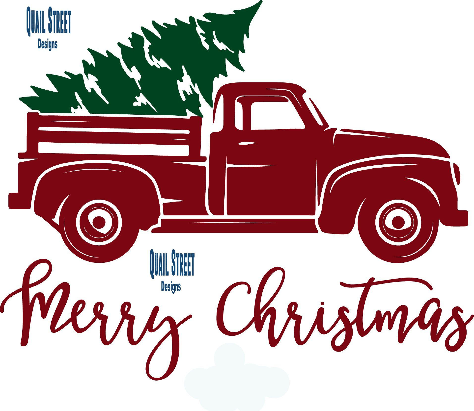 Vintage Red Truck With Christmas Tree Vinyl Decal