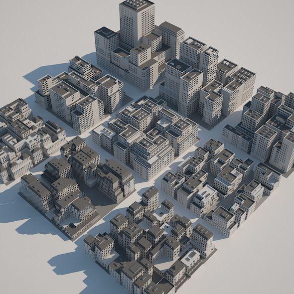 Buildings Set - A - 3DOcean Item For Sale In 2019