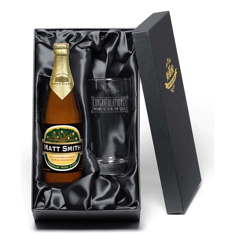 I just love it personalised cider gift set 568ml with
