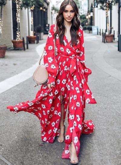 ba0ee254940 Fashion Floral Printed Long Sleeve Tie Waist V Neck Maxi Dress –  risechic.com