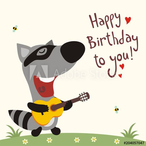 Funny Raccoon With Guitar Sings Song Happy Birthday To You