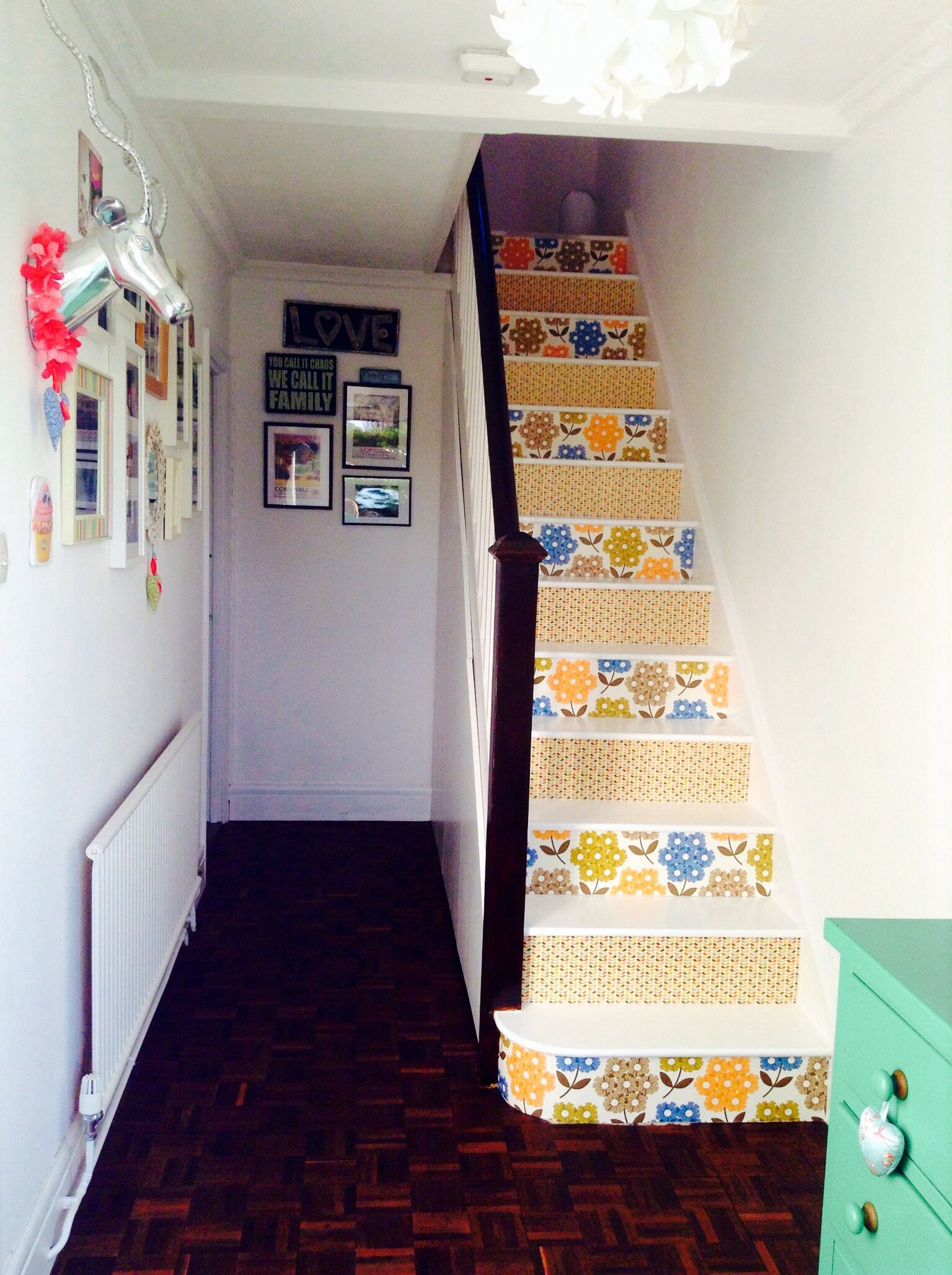 Wallpaper stair risers , I used wrapping paper as a