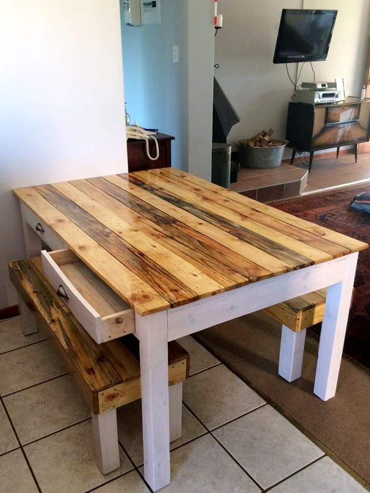 If You Are Having A Small Family Or Compact Dining Area This DIY Pallet Table And Bench Set Is Sure To Be Your First Choice As It So Gorgeous In