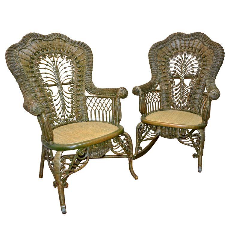 Ornate Victorian Antique Wicker Chair and Rocker. Antique Heywood Wakefield Wicker Rocking Chair   Hey Wake