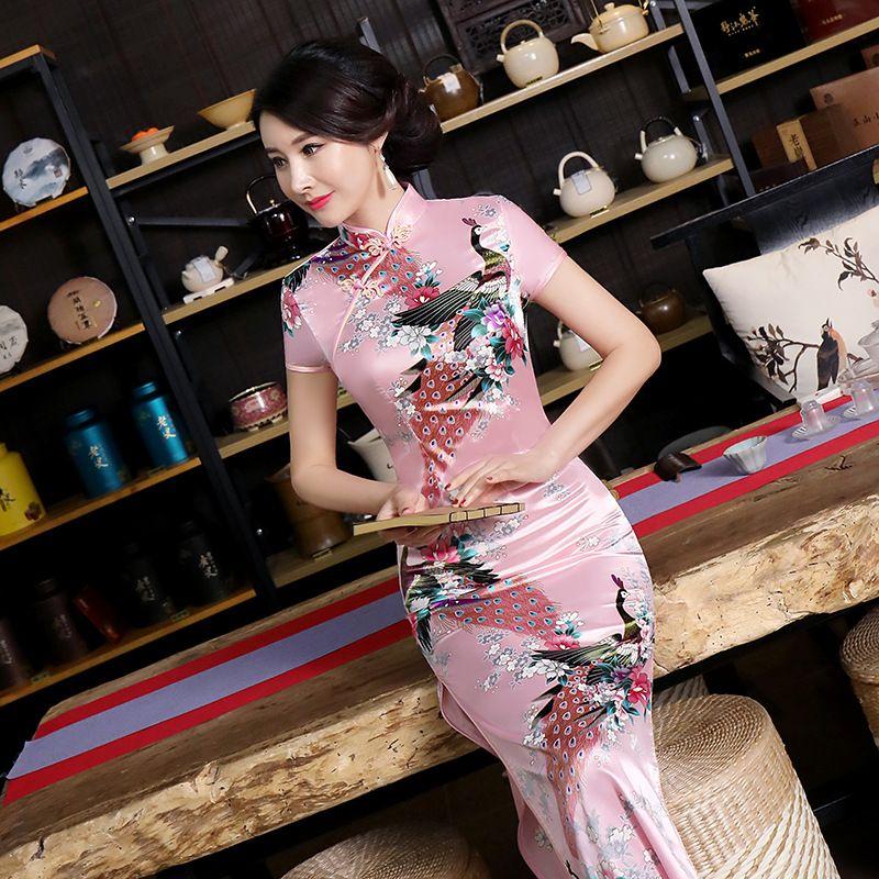be1d3bfa1 Elegant-Pink-Summer-New-Women-Dress-Chinese-Traditional-Qipao-Sexy-Long- Cheongsam-High-Slits-Short-Sleeve