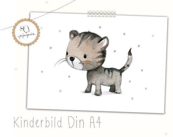 "Kinderzimmer Bild, Kinderbild ""Kätzchen"", Katze Kinder"