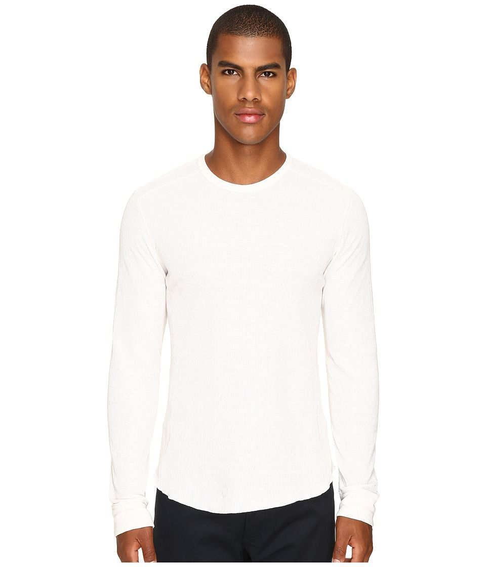 VINCE VINCE - RAW EDGE LONG SLEEVE CREW NECK (HEATHER OPTIC WHITE) MEN'S T SHIRT. #vince #cloth #