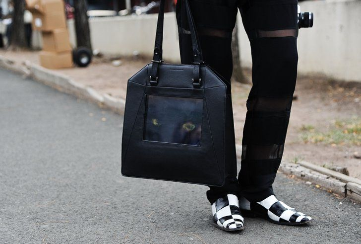 Pin for Later: New York's Street Style Accessory Game is Hard to Beat  A Sydney Rogers bag that's played up by black-and-white squares.