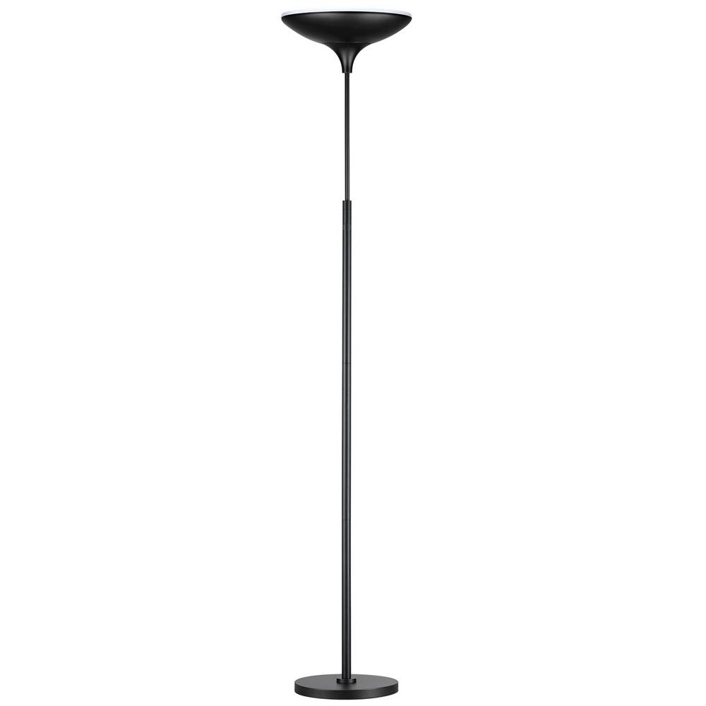 Globe Electric 71 In Black Satin Led Floor Lamp Torchiere With Energy Star 12784 The Home Depot Torchiere Floor Lamp Led Floor Lamp Globe Electric