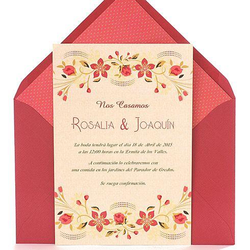 Invitaci n de boda romantica original y elegante con - Bodas sencillas y romanticas ...