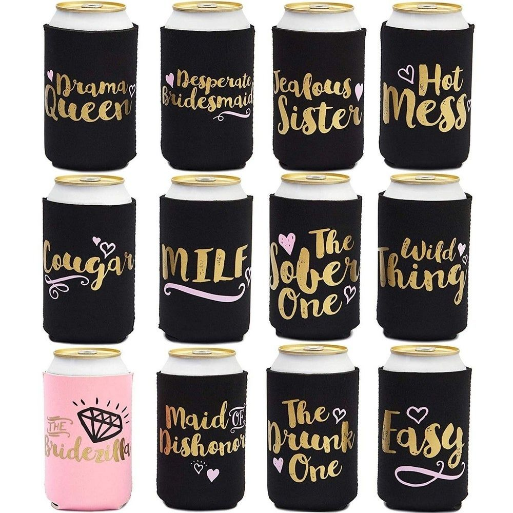 12 Bridal Shower 12oz Neoprene Bachelorette Party Insulated Beer Sleeve Coolers, Black
