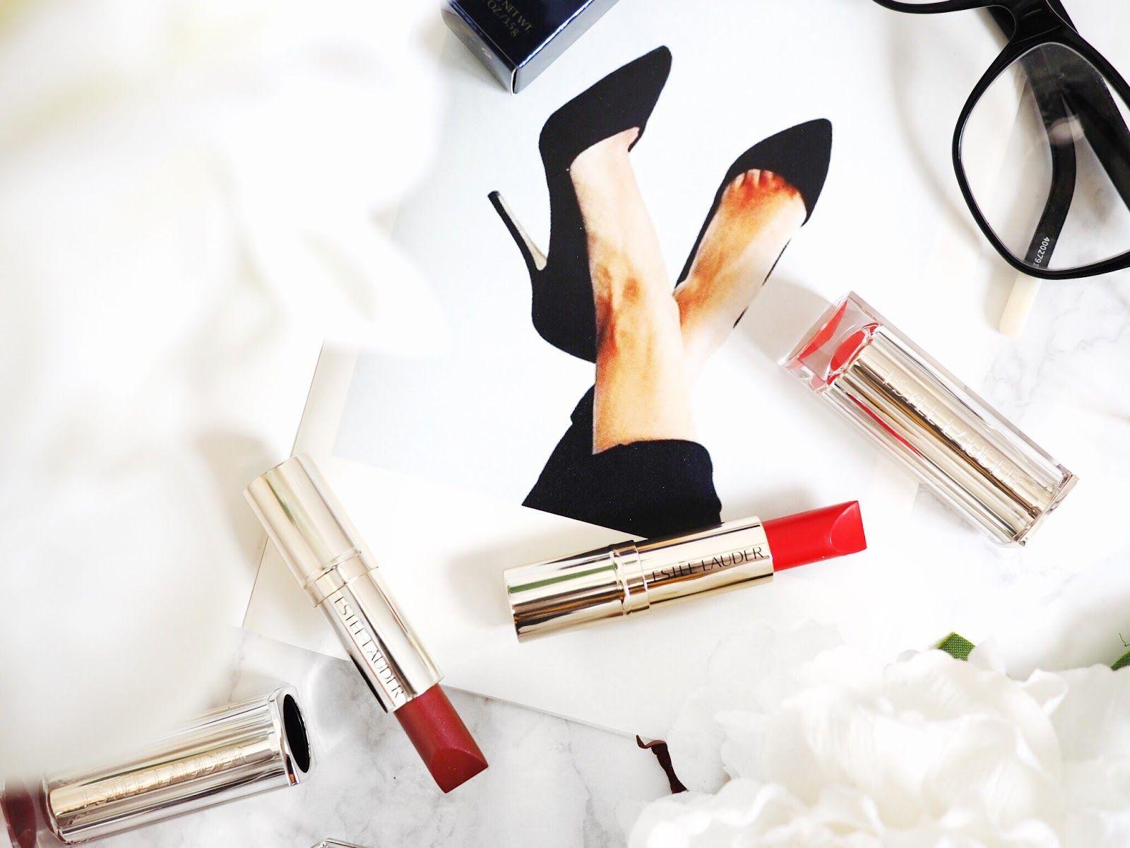 Estée Lauder Pure Colour Love lipsticks - make up flat lay