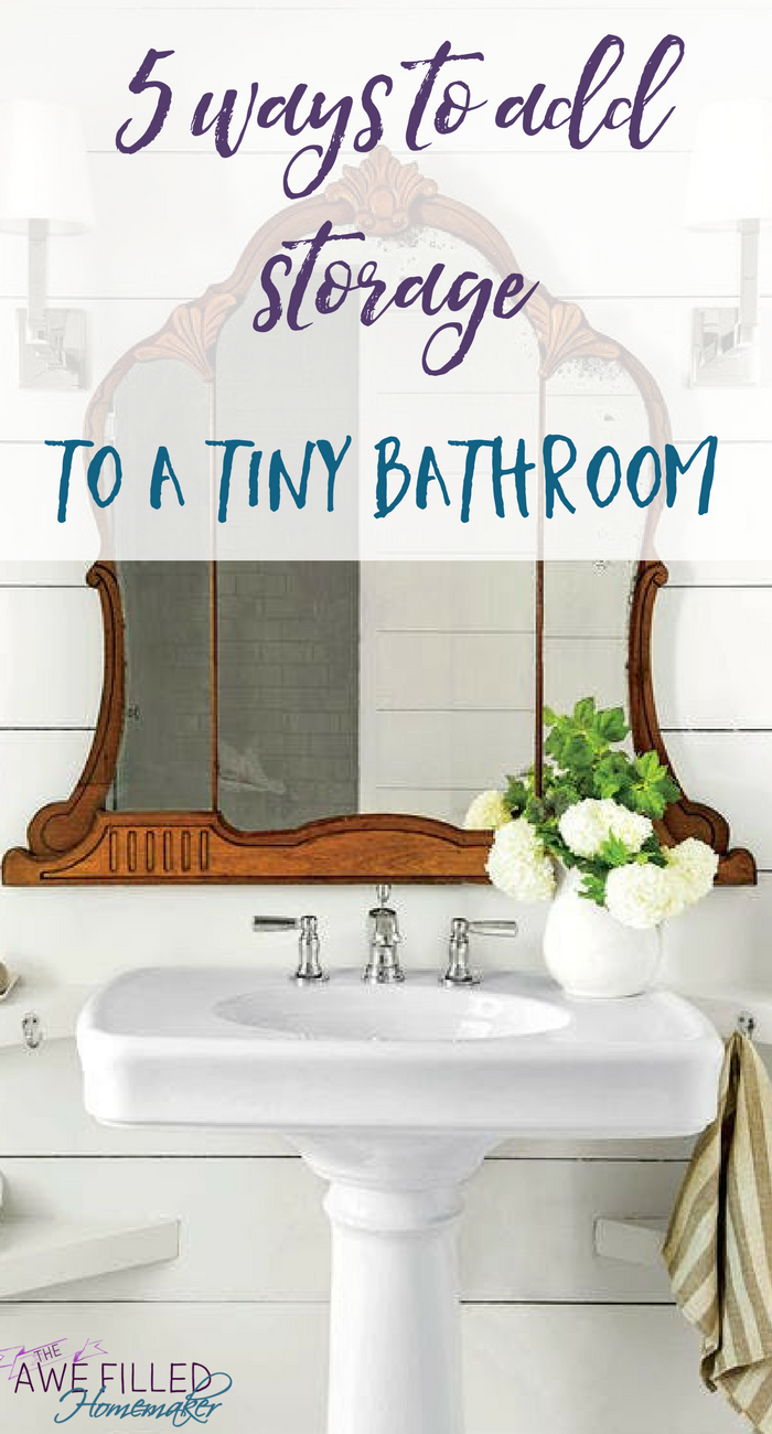 No Matter What Size Of Your Bathroom There Is Probably A Spot Where You Can Squeeze A Shelf Or Two To Help With Towels Tiny Bathroom Tiny Bathrooms Bathroom