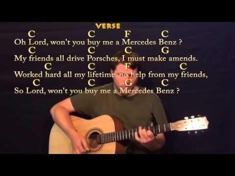 Mercedez Benz Janis Joplin Strum Guitar Cover Lesson With Lyrics
