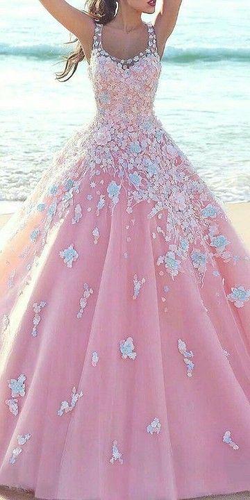 Modernos Vestidos Rosas Largos Para Celebrar Por Lo Alto