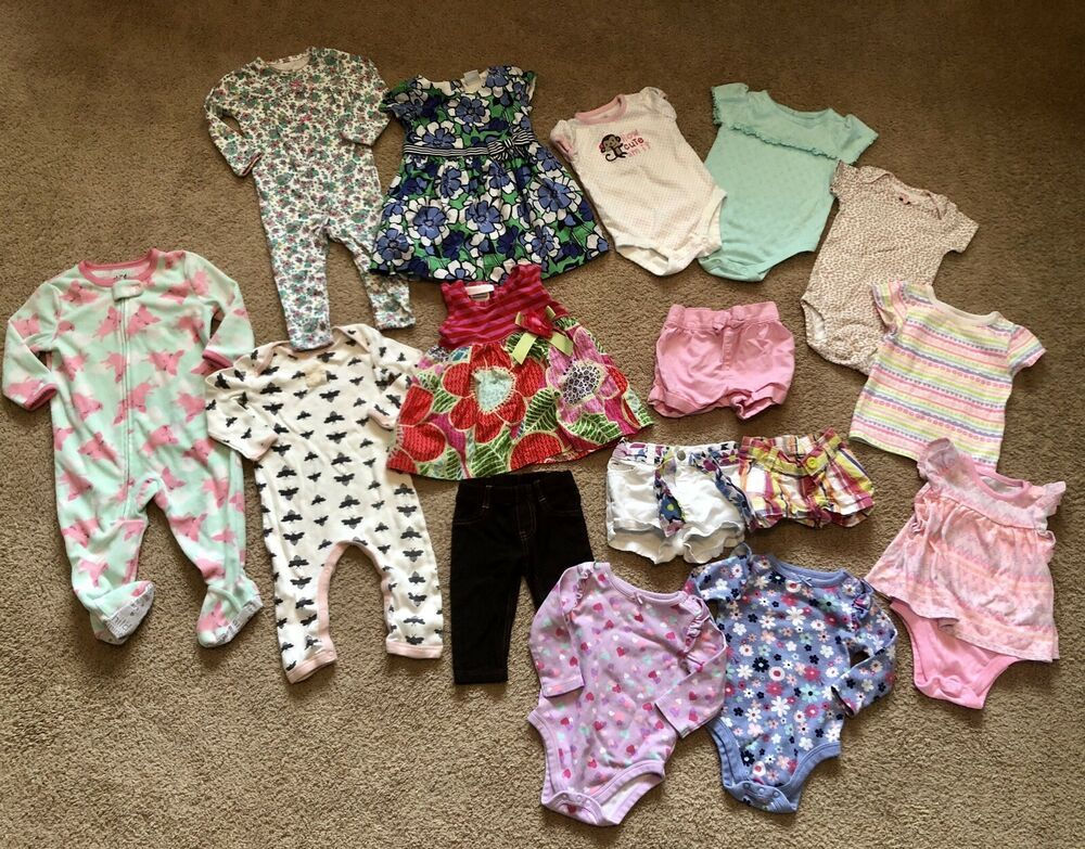 faf39021fa72 EUC Girls LOT 16 Piece Lot 3-12 month Carters Children's Place Spring Summer  #
