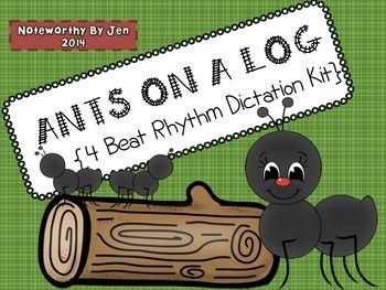Cutting & writing out 4 beat rhythms per log -good review for younger & older students