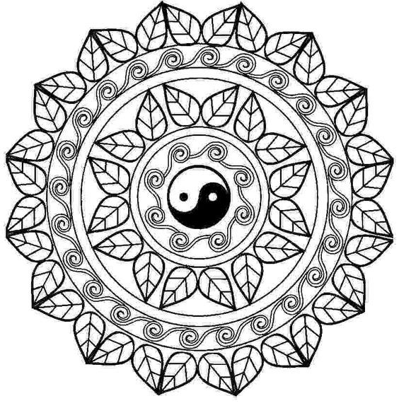 Mandala Con El Free Printable Online Yin Yang Coloring Pages